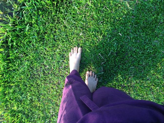เท้าเปล่าบนพื้นหญ้า คือ ยา ที่ราคาถูกที่สุด